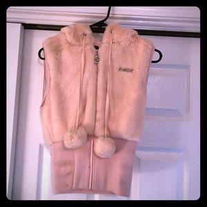 Pale pink faux fur vest